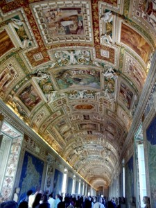 Amazing artwork on the ceilings of the pathway to the Sistine